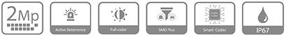 IPC-HFW3249T1-AS-PV charakteristikos